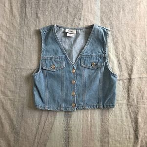 Vintage 1990s Denim Button Down Crop Top